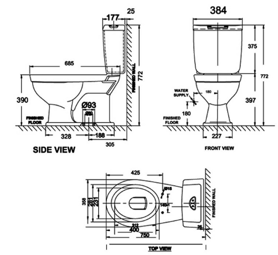 Bản vẽ bồn cầu American Standard VF-2321 2 khối